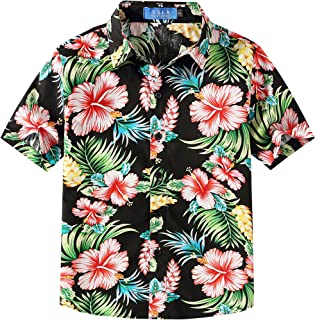 Big Boy's Floral Cotton Casual Button Down Short Sleeve Hawaiian Shirt