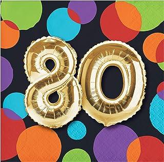 "Creative Converting Balloon 80th Birthday Beverage Napkins, 5"", Multi-colored"