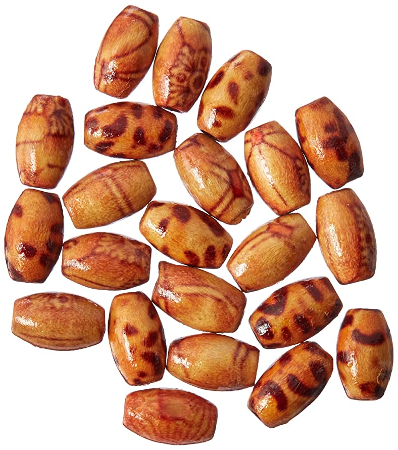Darice 60-Piece Big Value Printed Wood Beads, 6mm by 10mm