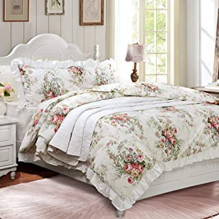 FADFAY French Country Bedding King Farmhouse Duvet Cover Vintage Rose Floral 100% High Qualtiy Cotton Super Soft Hypoallergenic with Hidden Zipper Closure 3 Pieces King/California King Size