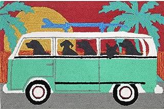 Liora Manne Frontporch Front Porch Dog Beach Trip Turquoise Indoor/Outdoor Rug, 20