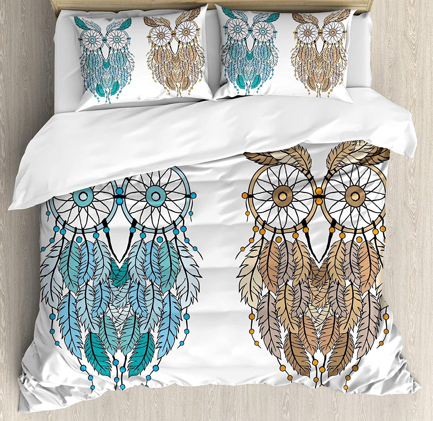 USOPHIA Owl 4 Pieces Bed Sheets Set Twin Size, Dreamcatcher Style Owl Tribal Ethnic Features Magic Farsighted Birds Artsy Print Floral Duvet Cover Set, Cream White Teal