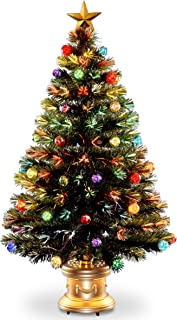 National Tree 48 Inch Fiber Optic Ornament Fireworks Tree with Gold Top Star and Multicolored Lights in Gold Base (SZOX7-100L-48)