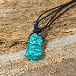 BARBARI Jewelry Raw Turquoise Crystal Necklace | Handmade Gift for Him and Her+ Free Gift Wrap+ Free Gift ! High Quality Natural Rock Healing Gemstone Pendant for Men and Women