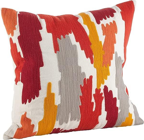 SARO LIFESTYLE Embroidered Brushstroke Design Down Down Filled Throw Pillow 4855 RU20S 20 Rust