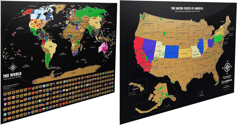 Landmass Outstanding Black Scratch Off + Cash special price World USA Map