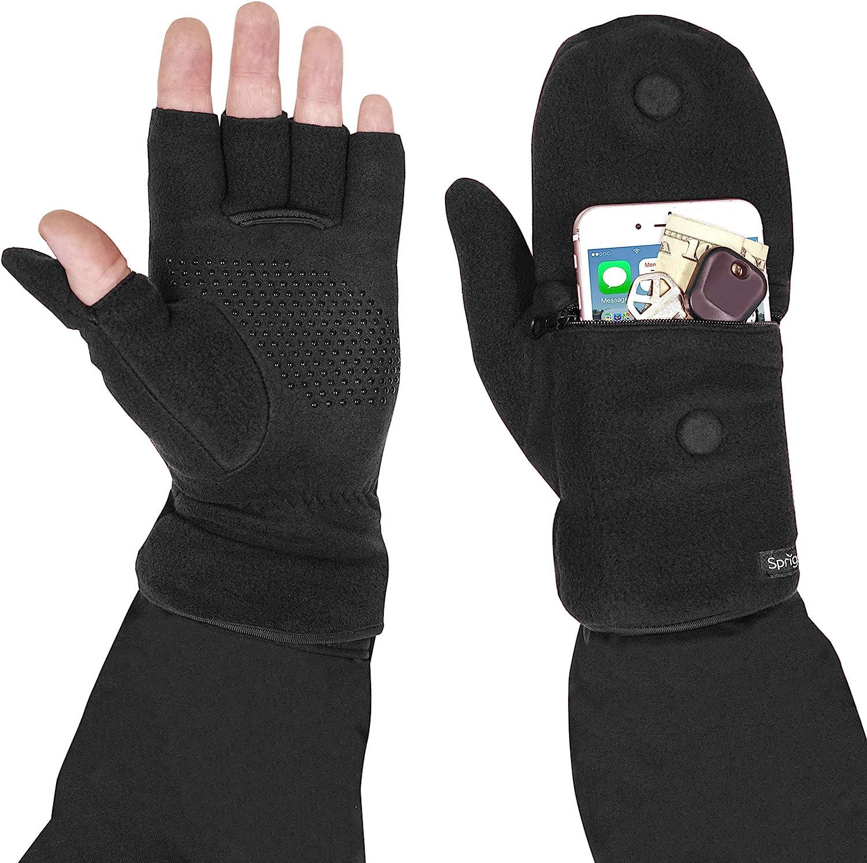 Multi Mitt Fingerless Gloves With Adjustable Top & Cell Phone Pocket