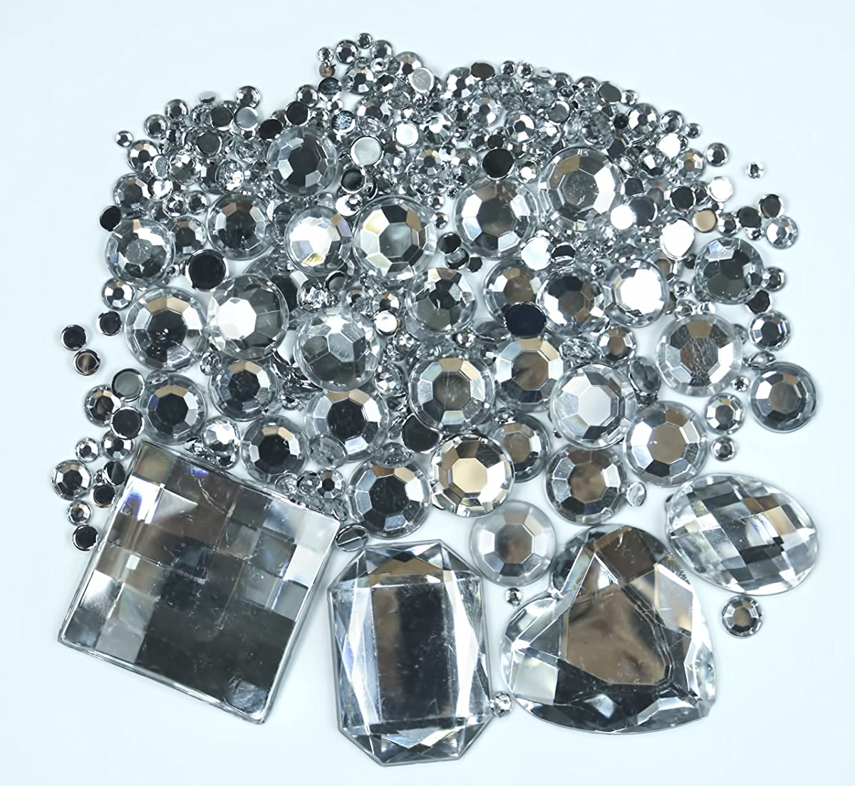 ALL in ONE 1010pcs Acrylic Flatback Rhinestones Gemstone Embellishments for DIY Craft (Clear)
