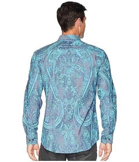 forma BUGATCHI tejida Paisley camisa en Seafoam de de vintage UUrqf5