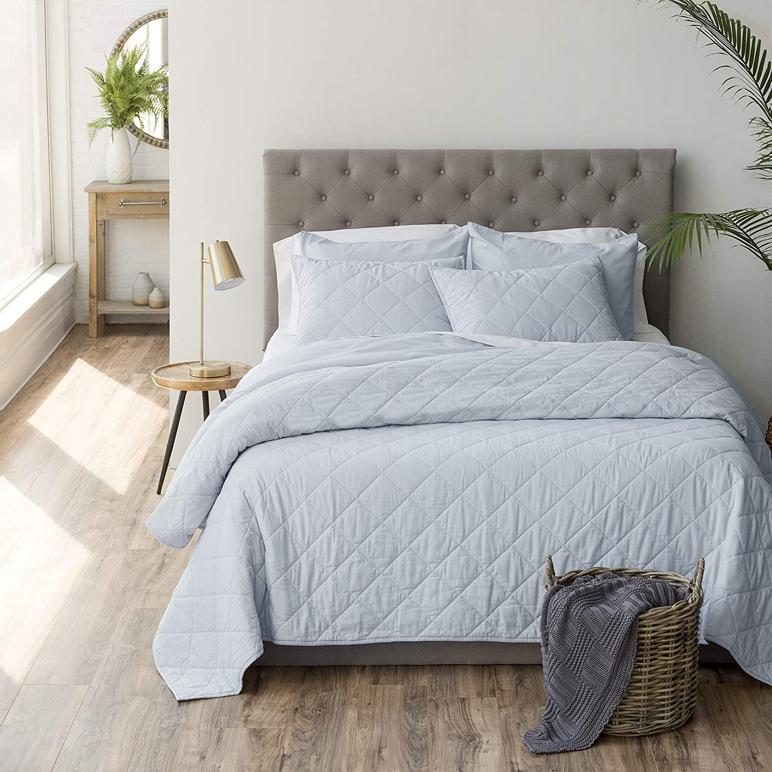 Welhome Recommended Luxurious Hunter 3-Piece Cotton Percale Linen Quilt - Ki Raleigh Mall
