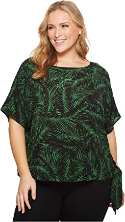 Plus Size Abstract Palm Tie Top