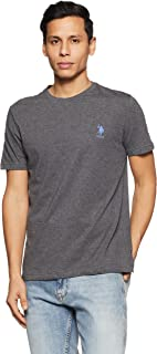 US Polo Association Men's Solid Regular Fit T-Shirt (I633-031-PL_Anthra Melange_Large)