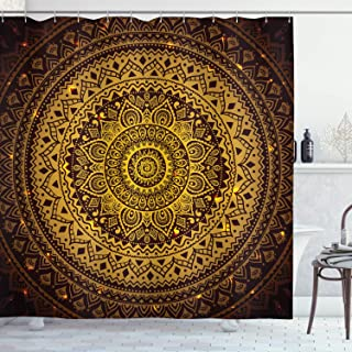 Mandala Shower Curtain Brown Decor by Ambesonne, Mandala Pattern in Dark Colors Antique Arabesque Style Illustration Symmetrical Art Form, Polyester Fabric Bathroom Set, 75 Inches Long, Gold Brown