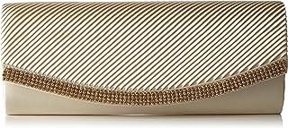 Berydale Damen Satin Handtasche mit Strassbesatz, Clutch Schultertasche mit Zusatzkette und Magnetverschluss