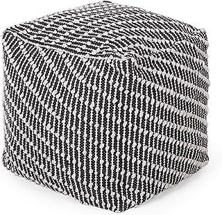 Christopher Knight Home Grace Boho Fabric Cube Pouf, Black, White