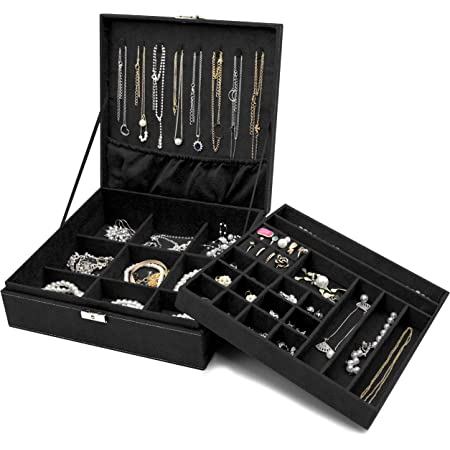Procase Boîte à Bijoux Coffret à Bijoux pour Femmes, 2 Niveaux, Coffrets/Boîte à Maquillage pour Boucles d'oreilles, Bracelets, Bagues, Bontres, Colliers-Noir