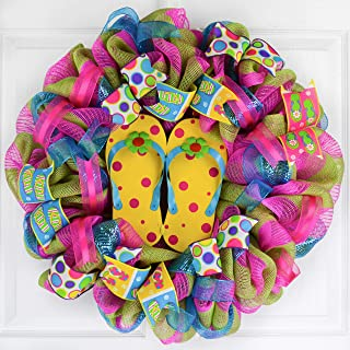 Yellow Summer Spring Flip Flop Welcome Deco Mesh Wreath | Turquoise Lime Green Pink