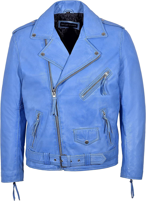 Smart Range New Brando Men's Blue Crust Designer Fitted Real Lambskin Leather Biker Jacket MBF