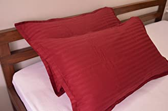 Trance Home Linen 100% Cotton Pillow Covers (20X30-inch Large, Maroon) - Pack of 2