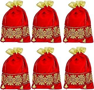 Evisha Women's 6 Pieces Zari Work Red Velvet Satin Potli Bag (25 x18 cm)