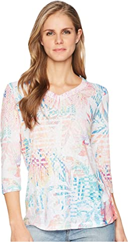 Tropical Print V-Neck Top