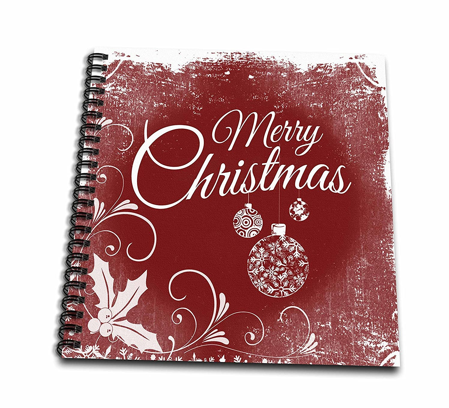 3D Rose Red Vintage Art of Merry Christmas Drawing Book
