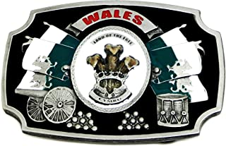 Wales Belt Buckle Land Of The Free - Cymru Welsh Patriot Authentic Dragon Designs