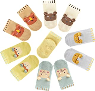 Toddler Baby Non Slip Ankle Socks - 5 Pairs Gift Pack for Baby Boys Girls
