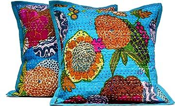 2 Blue Indian Handmade Pillowcase Kantha Floral Throw Pillow Toss Cushion Covers