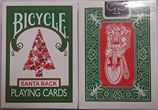 Bicycle 245 Green Deck Red Santa Maiden Back Playing Cards