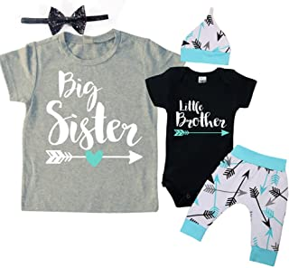 Big Sister & Little Brother Set. Matching Big Sister Little Brother Set 0-3Mo Bodysuit & 3T Shirt