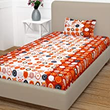 Story@Home Fantasy 100% Cotton Abstract Bedsheet for Single Bed with 1 Pillow Cover, Red