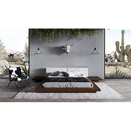 Limari Home Albina Collection Modern Style Bedroom Walnut Veneer Finished Leatherette Upholstered Platform Low Profile Bed, Eastern King, Brown, White