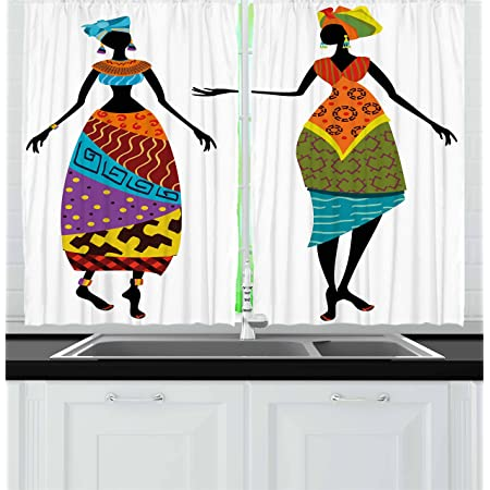 Ambesonne African Kitchen Curtains American Girl Singing With Saxophone Player Popular Sound Design Window Drapes 2 Panel Set For Kitchen Cafe Decor 55 X 39 Red Grey Home Kitchen