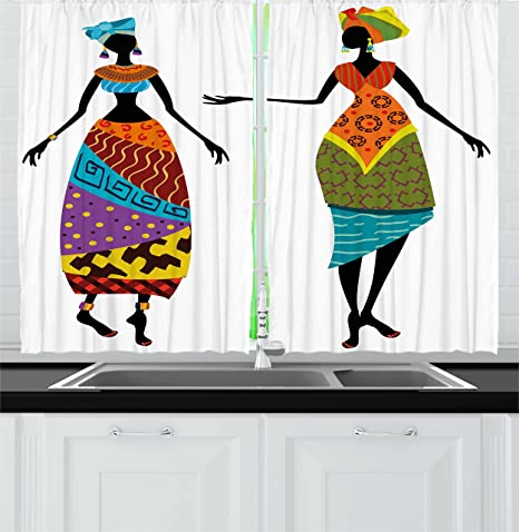 Amazon Com Ambesonne African Kitchen Curtains Ladies In Traditional Costume Silhouettes Ethnicity Vintage Display Window Drapes 2 Panel Set For Kitchen Cafe Decor 55 X 39 Black Orange Home Kitchen
