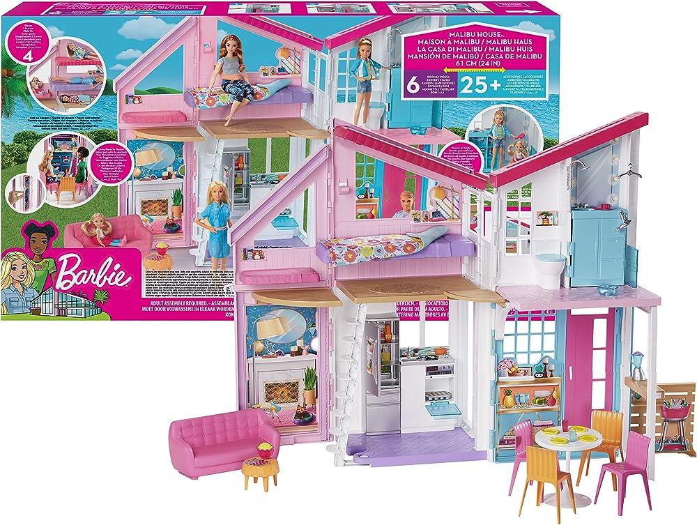 Barbie- la nuova casa di malibu, playset richiudibile su due piani con accessori giocattolo per bambini 3+ ann FXG57
