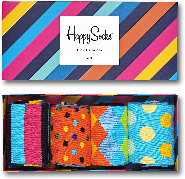 Happy Socks Men's 4-Pack Classic Multi-Color Socks Gift Set