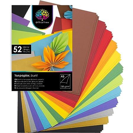 OfficeTree 52 Feuilles de papier dans des tons colorés - enfants Papier DIN A3 pour bricoler et construire - 130 g/m² - 10 couleurs plus feuilles d'or et d'argent