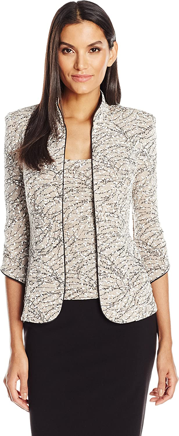 Alex Evenings Womens Printed Mandarin Neck Twinset Tank and Jacket