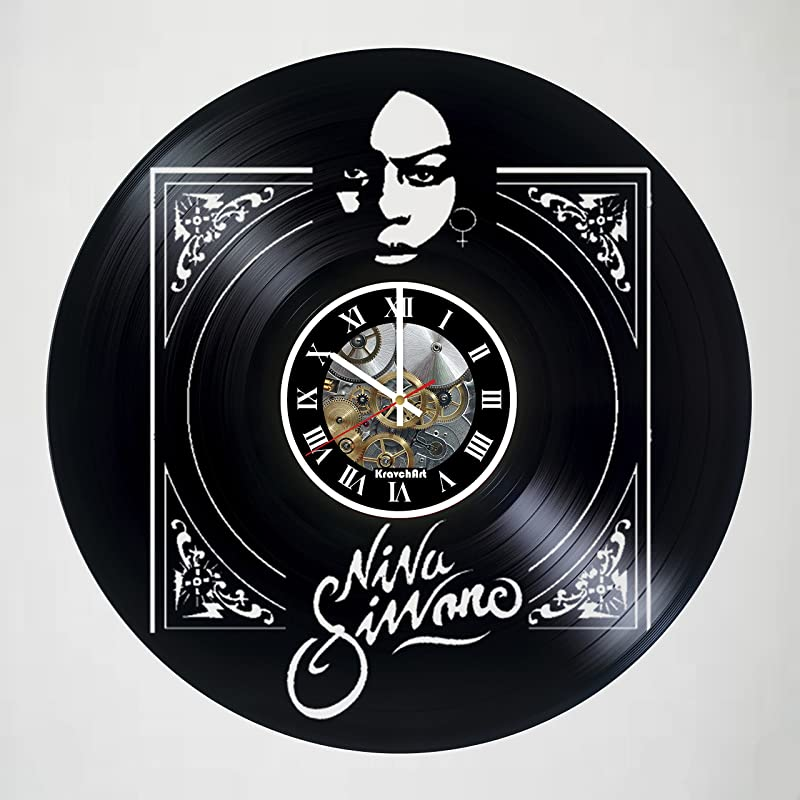 KravchArt Nina Simone Vinyl Record Wall Clock Handmade Artwork Unique Home Bedroom Living Kids Room Nursery Wall Decor Great Gifts Idea For Birthday Wedding Anniversary Customize Your Clock