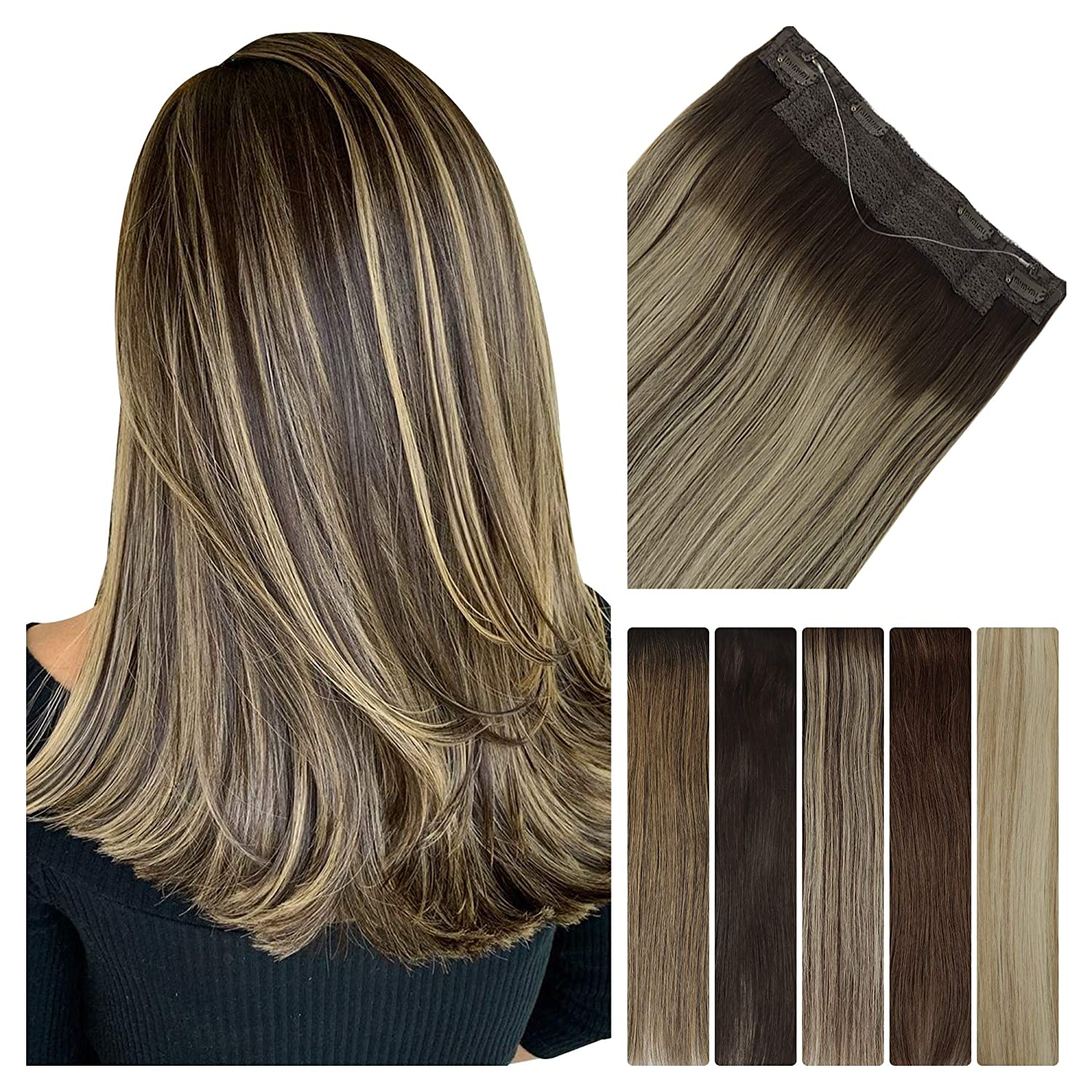 LeaLea Human Hair Extensions Halo 20 Chocolate Ombre Fort Worth Mall B Mail order Inch