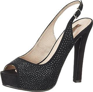Black Microfiber Ladies Shoes, Zapatos de tacón con Punta Abierta para Mujer