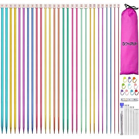BCMRUN Lot de 28 pièces/14 paires d'aiguilles à tricoter simples en acier inoxydable, droites et colorées, 14 tailles de 2 à 10 mm, longueur de 35 cm pour le tricot fait main