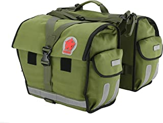 Roswheel Water-Resistant Bicycle Rear Seat Carrier Bag Double Pannier Bag Army Green 45L with High Quality