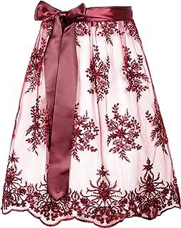 MarJo Dirndlschürze Marzella burgund   Weinrote Perlenschürze mit Satinband   Spitzenschürze bordeaux Perlen   verschiedene Längen wählbar