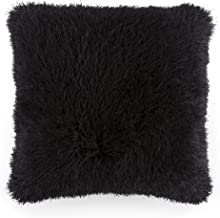 Bedford Home Oversized Floor or Throw Pillow Square Luxury Plush– Shag Faux Fur Glam Decor Cushion for Bedroom Living Room or Dorm (Black)