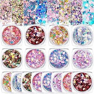 16 Boxes Mermaid Powder Flakes Holographic Nail Glitter Charms Hexagon Nail Glitter Confetti Mermaid Colorful Flakes Iride...