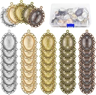 Maicreafie 80 Pcs Pendant Trays Kit, Including 40 Pieces 5 Colors Pendant Trays Oval Bezels with 40 Pieces Glass Dome Tiles for Crafting DIY Jewelry Making