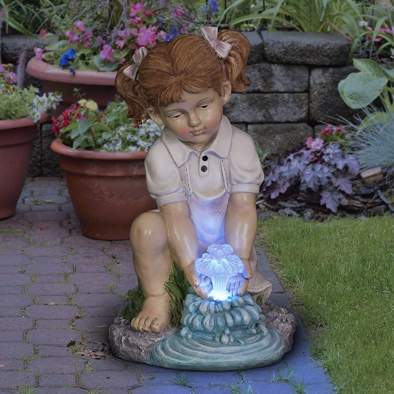 Exhart Solar Girl Playing with Chicago Mall LED Garden Form Statuary Opening large release sale 1 Water