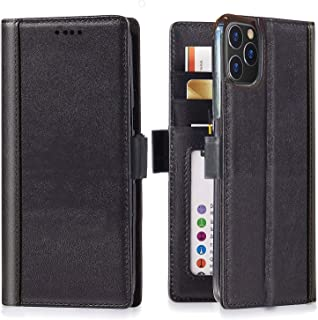 iPulse Journal for iPhone 11 Pro Max Case Full Grain Real Leather Flip Folio Wallet Case for iPhone 11 Pro Max with Magnetic Closure and Kickstand - Black